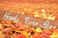Handmade Happily Ever After sign in fallen Autumn leaves Royalty Free Stock Photo