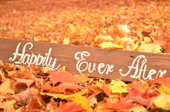 Handmade Happily Ever After sign in leaves Royalty Free Stock Images