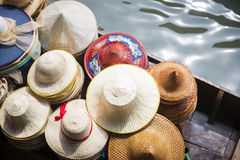 Handmade hat shop on boat Royalty Free Stock Photography