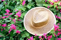 Handmade hat weave on leaf and pink flowers background royalty free stock photos