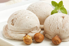 Handmade Hazelnut Ice Cream Stock Photography