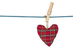Handmade heart hang on the rope Stock Image