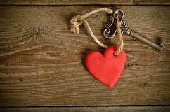 Handmade Heart with key together Royalty Free Stock Images