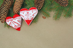 Handmade heart ornaments Royalty Free Stock Image