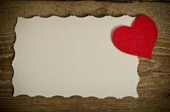 Handmade heart from red felt Royalty Free Stock Photo