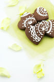 Handmade heart shape chocolate biscuits Royalty Free Stock Photo