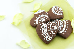Handmade heart shape chocolate biscuits. Some delicious handmade heart shape chocolate biscuits stock image