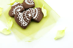Handmade heart shape chocolate biscuits Royalty Free Stock Images