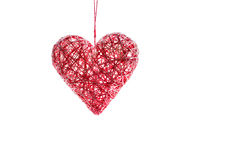 Handmade heart from threads for Valentine's Day. Isolated. Royalty Free Stock Images