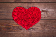 Handmade Heart on the wooden background. Royalty Free Stock Image