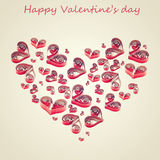 Handmade hearts cut from red paper Royalty Free Stock Image