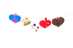 Handmade hearts Stock Images