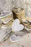 Handmade hearts. Handmade paper hearts for decoration stock photography