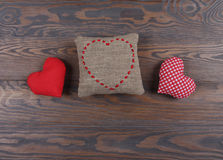 Handmade hearts on rustic wooden background Royalty Free Stock Image