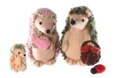 Handmade hedgehog toy family together Royalty Free Stock Photos