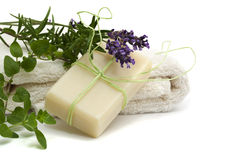 Handmade herbal soap Royalty Free Stock Photo
