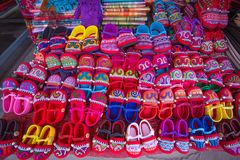 Handmade Hill Tribe Children`s Shoes, Doipui village, North Thailand. Handmade Hill Tribe Children`s Shoes, Doipui village, North Thailand, Asia royalty free stock image