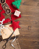 Handmade holiday decorations and vintage scissors Royalty Free Stock Photography