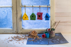 Handmade home for birds and plan to build it Royalty Free Stock Image