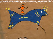 Handmade horse rider in Tribal art. Tribal art wall painting in India Royalty Free Stock Photos