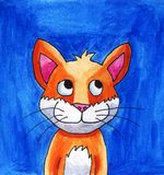 Adorable Cat With A Big Smile. Handmade illustration of an adorable cat with a blue background Stock Images