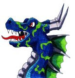 Angry Blue Dragon royalty free illustration