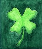 Green Watercolor Clover With Dark Green Background vector illustration