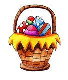 Watercolor Easter Eggs In A Basket. Handmade illustration of an easter basket filled with easter eggs Royalty Free Stock Photography