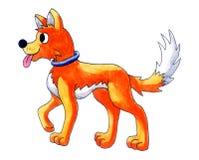 Happy Orange Watercolor Dog vector illustration