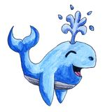 Happy Watercolor Whale. Handmade illustration of a happy whale Royalty Free Stock Image