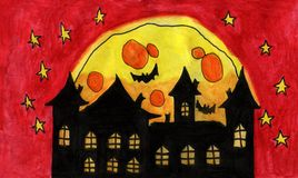 Watercolor Haunted House With Red Night Sky stock illustration