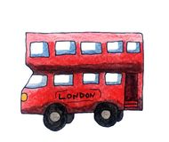 Red Watercolor London Bus stock illustration