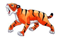 Saber Tooth Tiger. Handmade illustration of a saber tooth tiger Royalty Free Stock Images
