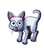 Watercolor Cartoon Scared Cat stock illustration