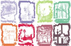 Handmade illustration of a sity. Multicolored city landscapes. Sketches of the hand Stock Photos