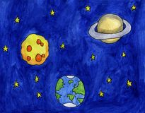 Epic Watercolor Space royalty free illustration