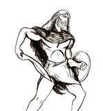 Handmade ilustracja wojownik plemię dawność ilustracji