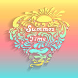 Handmade inscription Summer Time with sun waves splash in doodle style Royalty Free Stock Photography