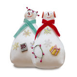 Handmade isolated snowmans couple Royalty Free Stock Photo