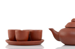Handmade Isolated teapot. Made of clay from Vietnam, Asia Stock Photo