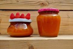 Handmade jam pots Stock Image