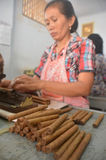 Handmade Jember's Cigars. The workers make handmade cigars at Jember, East Java, Indonesia. An export handmade cigars of Jember made from Jember's tobacco and royalty free stock image