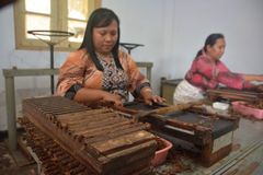 Handmade Jember's Cigars. The workers make handmade cigars at Jember, East Java, Indonesia. An export handmade cigars of Jember made from Jember's tobacco and stock photo