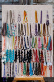 Handmade Jewelry. Handmade Bracelets and necklaces on sale in a market stock photos