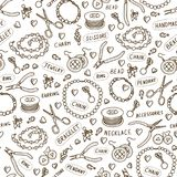 Handmade jewelry elements and tools vector seamless pattern. Beads and accessories monochrome background in sketch style. Hand drawn design texture in brown Royalty Free Stock Photos