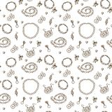 Handmade jewelry elements vector seamless pattern. Beads, bracelets and earrings monochrome background in sketch style Stock Image