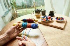 Handmade jewelry making stock image