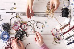 Handmade jewelry making, female hobby Royalty Free Stock Photos