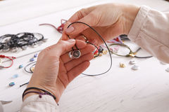 Handmade jewelry making, female hobby Royalty Free Stock Images