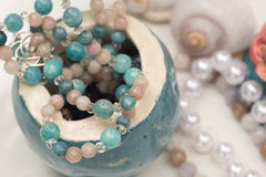 Handmade jewelry selective focus. Handmade jewerly selective focus closeup Royalty Free Stock Photos